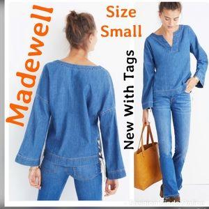 Madewell NWT oversized bell sleeve denim top